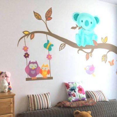 Décoration graffiti pour chambre de bébé, koalas