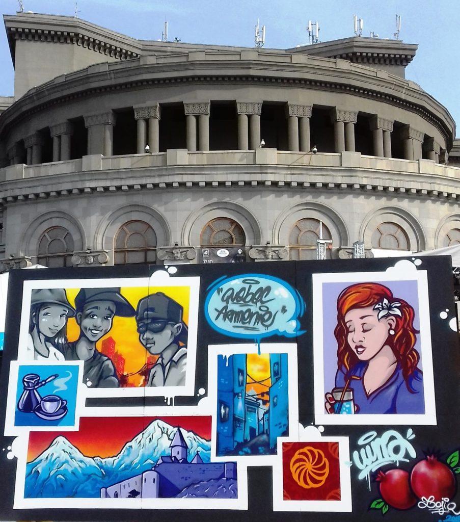 Fondation Franco-Arménienne pour le développement, graffiti, hip hop armenia, yerevan, opéra yerevant, somment de la francophonie, village de la francophonie, yerevan, lojiq, bd, graffit armenia, wuna, quebec armenie, couleurs, colors, graffiti cartoon